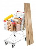 Shopping cart with materials for  home renovation, isolated on white