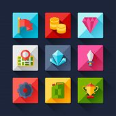 Set of game icons in flat design style