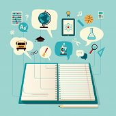 Open Book in office. Icon logo Set of Science. The Concept of Modern Education. Easy editable for yo