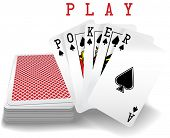 Royal straight flush playing cards deck and spades hand word Poker