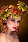 Woman With Fashion Art Concept Of Autumn