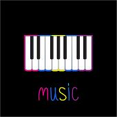 Piano Keys With Colorful Stroke  And Word Music. Card