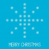 Big Snowflake From Little Snowflakes. Merry Christmas Card.