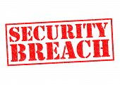 image of raid  - SECURITY BREACH red Rubber Stamp over a white background - JPG