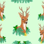 stock photo of caribou  - Seamless texture Christmas reindeer holidays vector illustration - JPG
