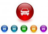car internet icons colorful set