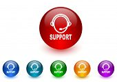 support internet icons colorful set