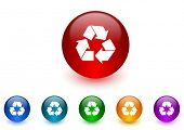 recycle internet icons colorful set