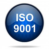 iso 9001 internet blue icon