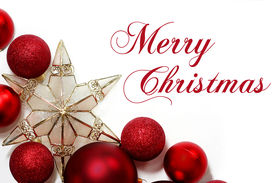 image of sparking  - Red sparkly Christmas Bulb Decorations and a gold tree topper star are in the corner framing a white background with the words Merry Christmas written - JPG