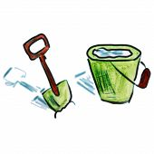 watercolor bucket shovel green cartoon figure, isolated on white background