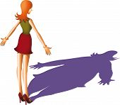 picture of anorexia  - A skinny woman and her big shadow - JPG