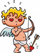 picture of cupid  - Cupid falling in love with himself after being hit by his own arrow - JPG