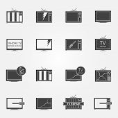 TV repair or service icons set