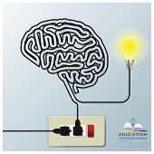 Brain Shape Electricline Education Infographic Background