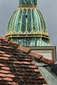 Detail Of The Cathedral In Bratislava Against The Background Of A Tiled Roof