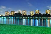 A lagoon at ECP with colourful reflection