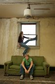 Teen Couple Impoverished Apartment