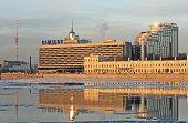 Saint-Petersburg. Russia. SAINT-PETERSBURG, RUSSIA, DECEMBER 24, 2014: Samsung logo on the Hotel