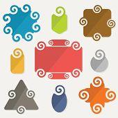 Colorful spiral shapes tag design elements set