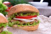 Delicious homemade hamburger on wood