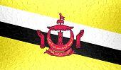 Brunei flag on metallic metal texture