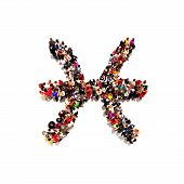foto of pisces  - Large group of people in the shape of the zodiac sign Pisces on a white background - JPG
