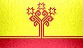 Chuvashia flag on metallic metal texture