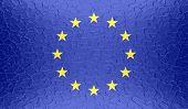 European Union flag on metallic metal texture