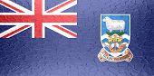 Falkland Islands flag on metallic metal texture