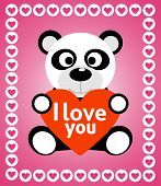 Valentines day background with panda