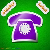 Retro Telephone Icon Sign. Symbol Chic Colored Sticky Label On Green Background. Vector