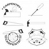 set of carpentry tools and logos