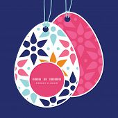 Vector abstract colorful stars Easter egg shaped tags set template