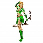 stock photo of archer  - the girl Archer in a green suit and bow in hand isolated on white background - JPG