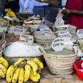 Traditional food market in Zanzibar in Africa.