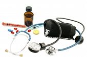 Stethoscope, Blood Pressure Monitor And Various Pharmaceutical Preparations