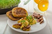 Scrambled Eggs With French Toast Topped With Watercress Scrambled Eggs With Watercress, French Toast