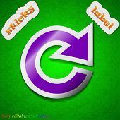Update Icon Sign. Symbol Chic Colored Sticky Label On Green Background. Vector