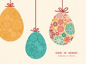 Vector abstract decorative circles hanging Easter eggs ornaments sillhouettes frame card template