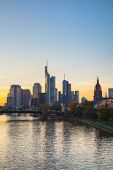 Frankfurt Am Main Cityscape At Sunset