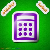 Calculator Icon Sign. Symbol Chic Colored Sticky Label On Green Background. Vector
