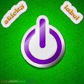 Power Icon Sign. Symbol Chic Colored Sticky Label On Green Background. Vector