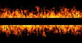 image of fiery  - Fire flames on black background with copy space - JPG