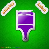 Paint Brush Icon Sign. Symbol Chic Colored Sticky Label On Green Background. Vector