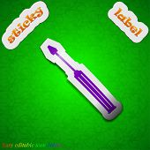 Screwdriver Tool  Icon Sign. Symbol Chic Colored Sticky Label On Green Background. Vector
