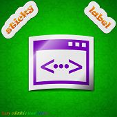 Programming Code Icon Sign. Symbol Chic Colored Sticky Label On Green Background. Vector