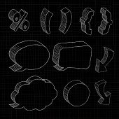 3D hand drawn notations and dialog boxes in black background.