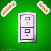 Safe Icon Sign. Symbol Chic Colored Sticky Label On Green Background. Vector