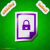 File Locked Icon Sign. Symbol Chic Colored Sticky Label On Green Background. Vector